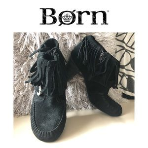 BORN SUEDE FRINGED BOOTS